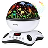 Moredig Night Light Projector, Remote Control and Timer Design Rotating Night Light, Built-in 12 Songs and 8 Colorful…