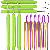 WILLBOND Crochet de Métier à Tricoter Crochet d'Aiguille avec Poignées en Caoutchouc et Aiguilles à Coudre en Plastique à Gra