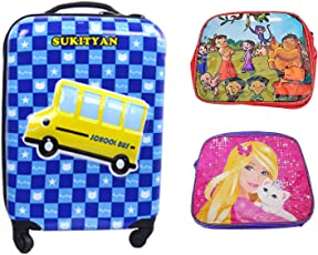Majik Kid Trolley Bag for Travel with Wheels and Free 2 School Kid Bag, Kids Travel Luggage, Traveling Bag for Girls and Boys, 85 Gram, Pack of 1
