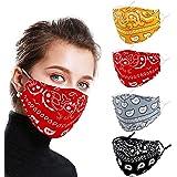Reusable Face Covering Cotton Washable Men Women, 4 Pack Adjustable Breathable Funky Fabric, 3D Designer Paisley Patterned Pr