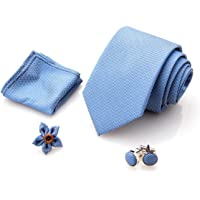 First Impact Cravatta uomo + Gemelli camicia uomo + Pochette uomo + Spilla Giacca uomo (Set cravatta uomo 4 pz…