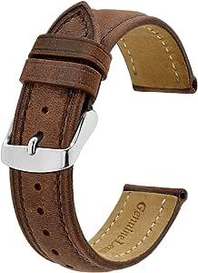 BISONSTRAP Bracelet de Montre, Bracelet de Remplacement en Cuir Vintage, Largeur de Bande-14mm 15mm 16mm 17mm 18mm 19mm 20mm 21mm 22mm 23mm 24mm