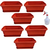 High Density Polyethylene Planter With Bottom Tray And Spray Water Bottle - Brown, 12 X 6 X 4.5 Inches, Pack Of 6