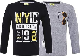 Punkster 100% Cotton Full Sleeves Printed T-Shirt for Boys