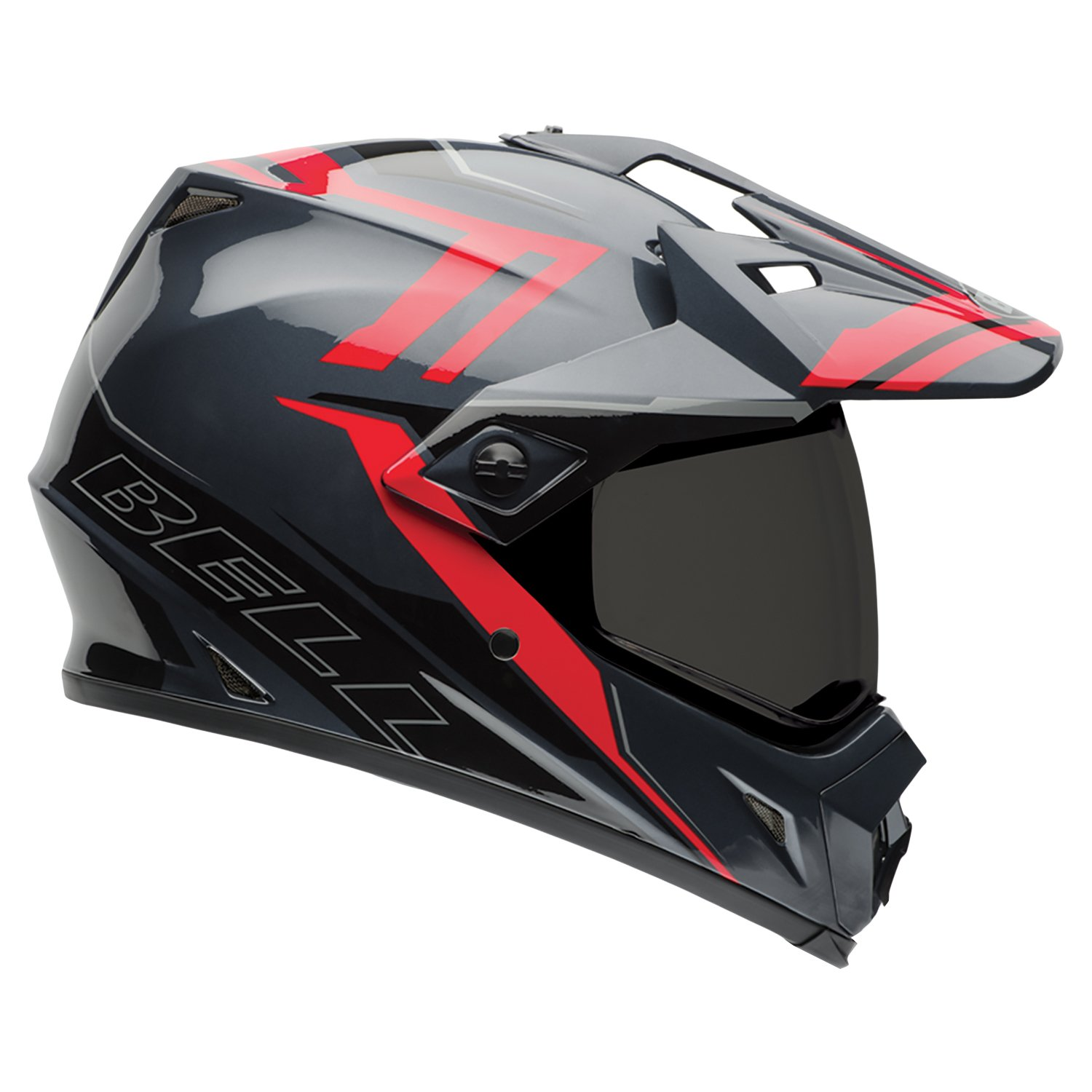 Bell Caschi MX 2015 MX-9 SolidHigh Visiblity Adventure Adult Casco, Barricade Rosso, XS