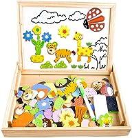 Puzzle Magnetico Legno, COOLJOY Giocattolo di Legno Bambini con Lavagna a Double Face , Apprendimento Educativo Bambini...