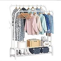 YAYI Porte-Vêtements en Métal Suspension Autoportante avec Double Pôle de Double Couche étagère de Rangement Blanc