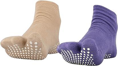 NO FALL Women's Cotton Combo Of 2 Split Toe Socks Pair (Dark Skin & Lavender_Free Size)