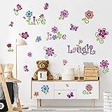decalmile Pegatinas de Pared Jardín de Flores Vinilos Decorativos Mariposas Floral Adhesivos Pared Habitación Infantiles Niña