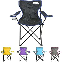 just be...® Folding Camping Chair with carry bag and cup holder light portable adults kids garden leisure bbq camp festival beach travel fishing picnic sports foldable lightweight compact summer