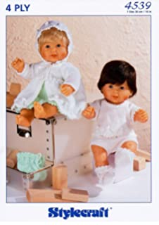 Stylecraft Wondersoft 4 ply 14 inch Baby Doll Clothes Knitting Pattern 4539