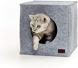 PiuPet® Premium Katzenhöhle inkl. Kissen | Passend für z.B. IKEA® Kallax & Expedit Regal | Kuschelhöhle in grau