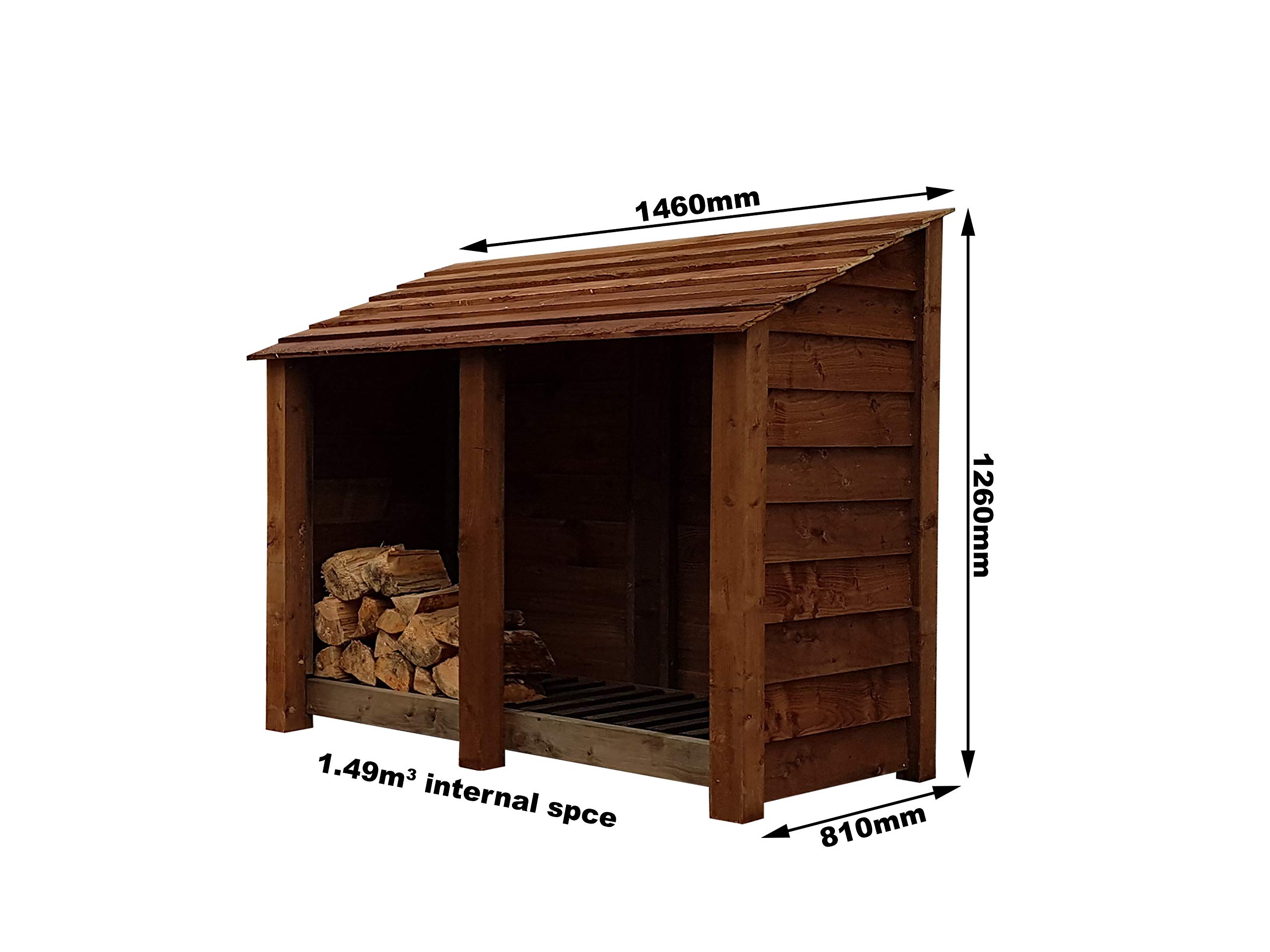 Arbor Garden Solutions Wooden Log Store 4Ft, Light Green (Natural) or Brown (1.49 cubic meters capacity) (W-146cm, H-126cm, D-81cm) (Brown)