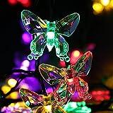 LEDMOMO Guirnalda Luminosa Cadena de Luces Solar Exterior Impermeable 20 LED Mariposa Decoración 4.5m Luz Multicolor