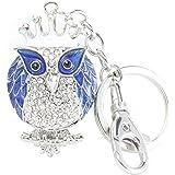 Quadiva Ciondolo da Borsa Gufo, da Donna - Bag Charm Queen Owl - (Colore: Argento/Blu), Decorato con Cristalli