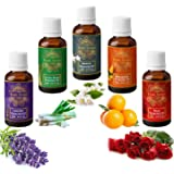 Exotic Aromas Pure and Organic Essential Oil - Pack of 5 (Lavender, Lemongrass, Jasmine, Mandarin, Rose)
