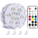 """Qoolife Magnetic Submersible LED Lights for Pool Spa & Party (3"""" 1-Pack)"""