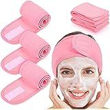 Queta haarband voor make-up, cosmetische hoofdband badstof, verstelbare haarbeschermingsband met klittenband 3 pack (Roze)