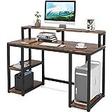 Tribesigns Bureau d'ordinateur, Industriel Table Informatique, Table d'étude avec étagère de Rangement, en Bois, 120x50x92cm