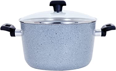 Meyer Forgestone Non-Stick Aluminum Cookware Casserole with Lid (24cm, Stone Grey)