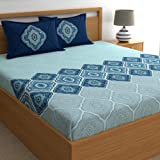 Dreamscape 100% Cotton Double bedsheets with 2 Pillow Covers Cotton, 144tc Ethnic Blue bedsheets for Double Bed Cotton (7.3ft