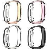 Dilhvy Case compatibel met Fitbit Sense/Fitbit Versa 3 Screen Protector, (4 Pack) Ultra dunne TPU Plated Screen Bumper Cover