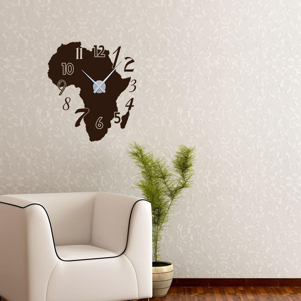 Wandtattoo Wandaufkleber Uhr Wanduhr Afrika Karte Zahlen Deko Fr Wohnzimmer Braun Horloge Argent Amazonde Kche Haushalt