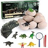 Anpro 12 Huevos de Dinosaurio,Kit de Excavación,Incluye 12 Figuras de Dinosaurios de Juguete, Regalo Infantil para Aprender C