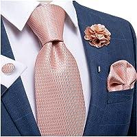 DiBanGu Cravatta di seta tessuto fazzoletto da uomo cravatta e spilla da bavero set paisley plaid solido floreale