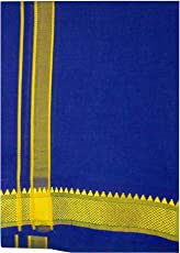 NNL Tex Men's Poly Cotton 1.95 Meter high quality kerala temple use Dhotis Blue Color