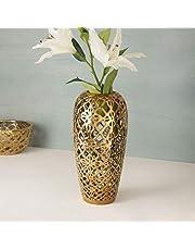 Home Centre Stellar Celestial Cutwork Vase - Gold