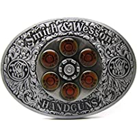 LKMY American Cowboy Western Belt Buckles For Men Silver Oval With Red Circle Rotate