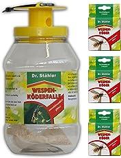 Dr. Stähler Bio Wespen-Köderfalle und Nachfüller Gardopia Sparkpakete + Zeckenzange mit Lupe