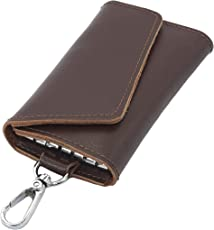 Storite Leather Key Case Wallets Keychain Key Holder Ring with 6 Hooks Snap Closure-Unisex Brown (10 x 6 cm)