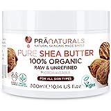 Beurre De Karité Bio Pranaturals 300ml, 100% Brut, Hydratant Et Protecteur UV Pour Tous Types De Peau, Hydrate Et Répare Les