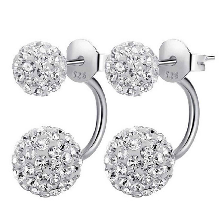 Ohrringe  1 Paar Kristall Ohrringe in 100% 925 Silber | Ohrstecker mit 2 ...