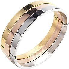 Moneekar Jewels Plain Polished Stainless Steel Classical Kada Bracelets for Mens Boys
