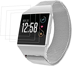 """Bracciale Magnetico per Fitbit Ionic con Protezioni Schermo, AFUNTA Banda Orologio da Sostituzione Loop Milanese da 6,7""""- 8,1"""" e 3 pezzi di pellicole protettive TPU Anti-graffi per Smart Watch"""