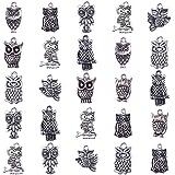 PandaHall 50pcs Ciondoli in Lega Stile Tibetano Gufo,Argento Antico,16-30x16-30x3-4mm, Foro: 1-2mm