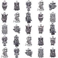 PandaHall 50pcs Ciondoli in Lega Stile Tibetano Gufo Ciondoli Laurea,Argento Antico,16-30x16-30x3-4mm, Foro: 1-2mm