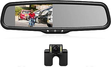 """AUTO-VOX T2 Rückfahrkamera Rückspiegel Set, IP 68 wasserdichte Autokamera mit 4.3""""LCD Spiegelmonitor, LED Nachtsicht, einfache Installation, Einparkhilfe&Rückwärtshilfe geeigenet für nahezu alle Automodelle inkusiv Trucks Rvs"""