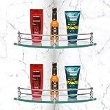 Plantex Premium Transparent Glass Corner Shelf for Bathroom/Wall Shelf/Storage Shelf(9x9 Inches-Pack of 2)