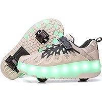 Skateboard Scarpe con Rotelle LED Lampeggiante Scarpe Doppia Ruote Pattini a Rotelle Unisex Bambini All'aperto Sportive…