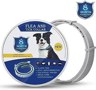 MENGZF Collare antiparassitario Cane,Collare per pulci 8 Mesi di Protezione per Medio/Grande Cani e Cuccioli, Lunghezza Regolabilee Impermeabile, Stop morde prurito,Collare antipulci Cane