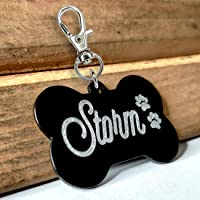 Pawzone Pet Dog and Cat Customised Name Tags (Black)