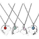 """Jovivi Set di 4 collane dell'amicizia, con scritta """"Best friends forever and ever"""", motivo con cuore e puzzle"""