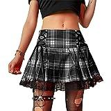Geagodelia - Minigonna da donna in pizzo patchwork sexy a vita alta a pieghe Goth Y2k Accademia Estetica Scuro Punk Gonna
