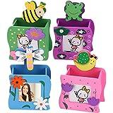 Zuzer 4PCS Pot à Crayons Enfant Porte-Stylo en Bois Boîte à Crayons Porte-Stylo,Maquillage Brosse Support Organiseur de Burea