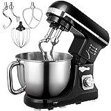 Matberedare, Aicok 5 l buller knådmaskin med dubbel knådkrok, visp, degkrok, visp, stänkskydd, 6 hastigheter med rostfri skål