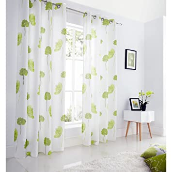 Green Curtains amazon green curtains : Just Contempo Poppy Lined Eyelet Voile Curtains, Lime Green, 57x90 ...